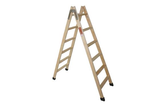 Escalera madera pino doble con taco 4 peldaños
