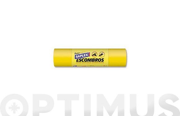 Bolsa basura especial escombros 50 l 5 uds 55 x 80 cm amarillo g-340
