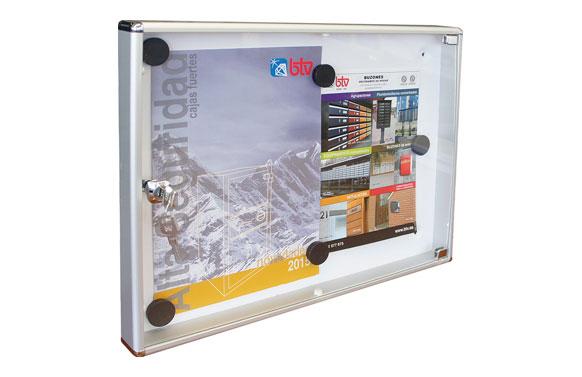 Panel de anuncios horizontal 2 folios aluminio natura