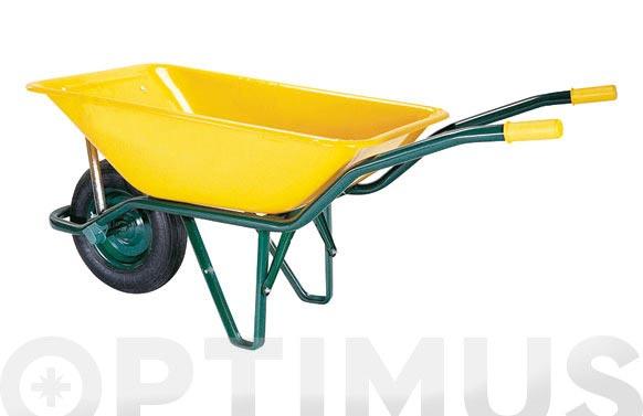 Carretilla metalica amarilla ligera c1/550-90 l rueda neumatica