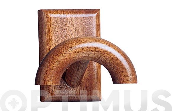 Colgador adhesivo 1 gancho madera pino color sapelly
