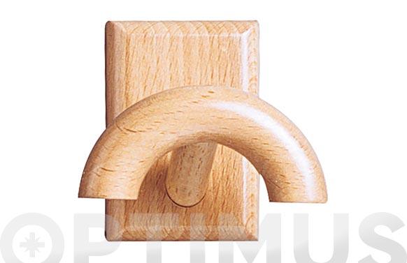 Colgador adhesivo 1 gancho madera pino color haya