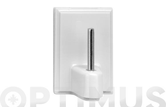 Colgador adhesivo 1 gancho plastico para visillos blanco 4 unidades