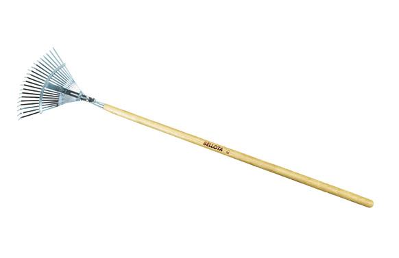 Escoba metalica acero 21 dientes planos regulable 38,5cm-48cm con mango madera de 120cm