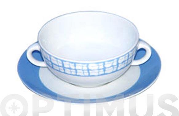 Bol sopa con plato porcelana