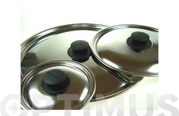 Tapa acero inox pomo baquelita 16 cm