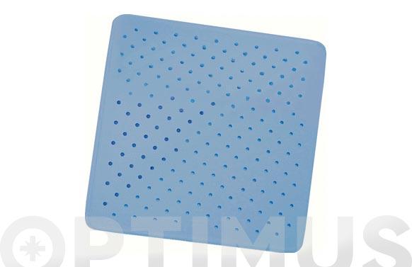 Alfombra ducha caucho natural azul 54 x 54 cm
