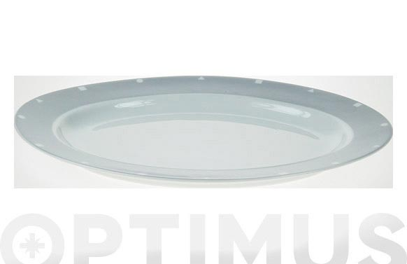 Fuente oval porcelana decorada gris 545