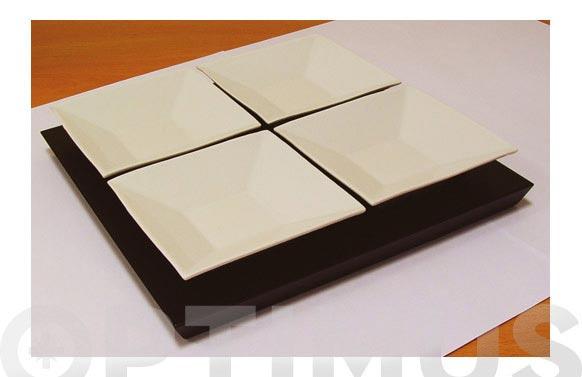 Entremesero ceramico 4 piezas sobre madera