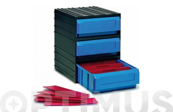 Clasificador apilable plastico negro 3 gavetas 245 x 291 x 321 mm