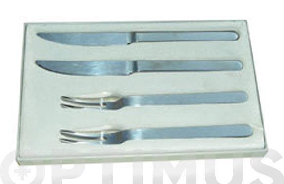 Cuchillo +tenedor carne juego 6 unidades