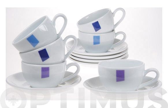 Taza cafe porcelana juego 6 unidades coor textile