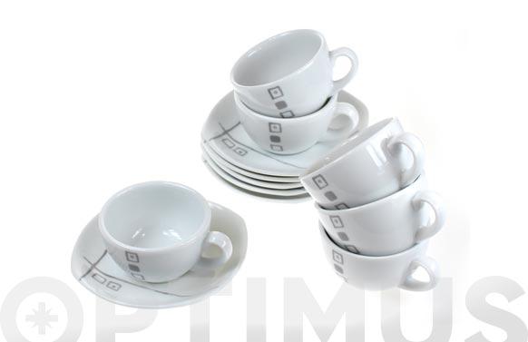 Taza cafe con plato porcelana juego 6 unidades duet grey