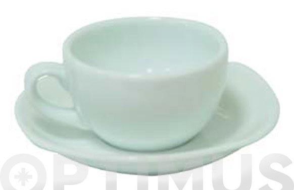 Taza cafe y plato porcelana blanca juego 6 unidades