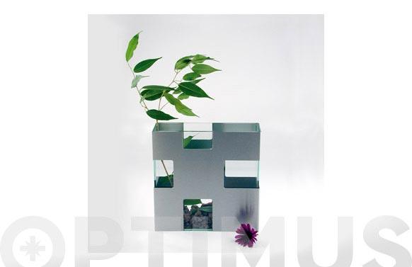 Florero vidrio aluminio mate 18 x 18