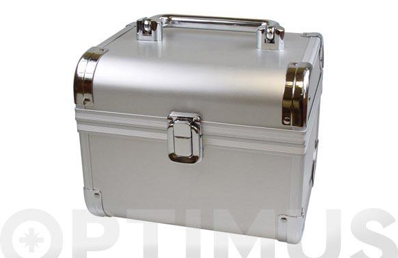 Maletin joyero y maquillaje aluminio 17x13,5x14 cm