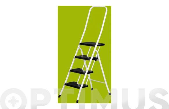 Escalera acero blanca c/barandilla 2 p negros