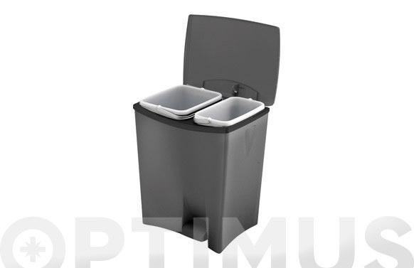 Cubo pedal ecologico duetto 2 recipientes plata/antracita