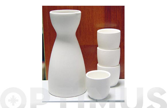 Botella + 4 vasos sake armi blanco