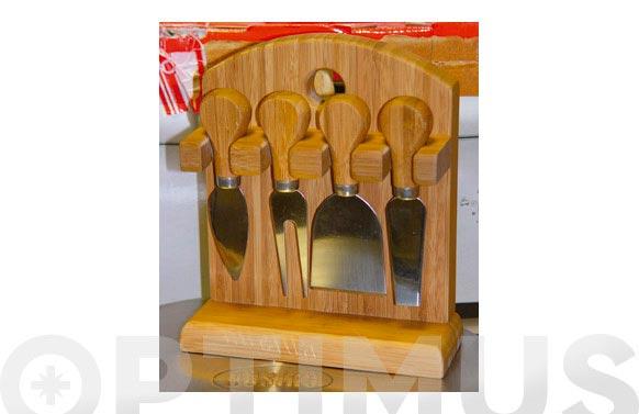 Cuchillo queso 4u soporte madera gukd0101