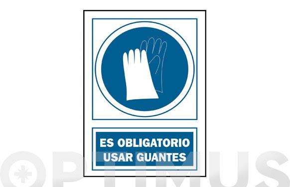 Señal obligacion castellano 297x210 mm guantes
