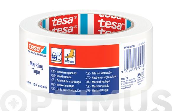 Cinta adhesiva señalizacion temporal blanco 33 m x 50 mm