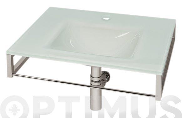Encimera vidrio + valvula + sifon + soporte blanco