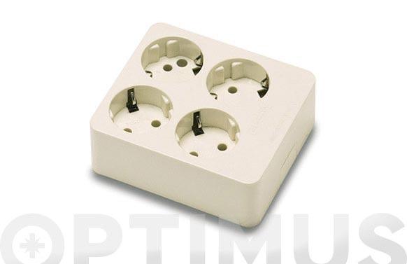 Base multiple sin interruptor sin cable 4 tomas cuadrada
