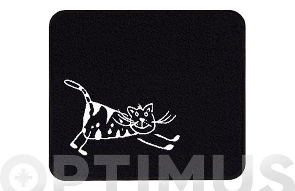 Alfombra baño cats 55 x 65 cm negra