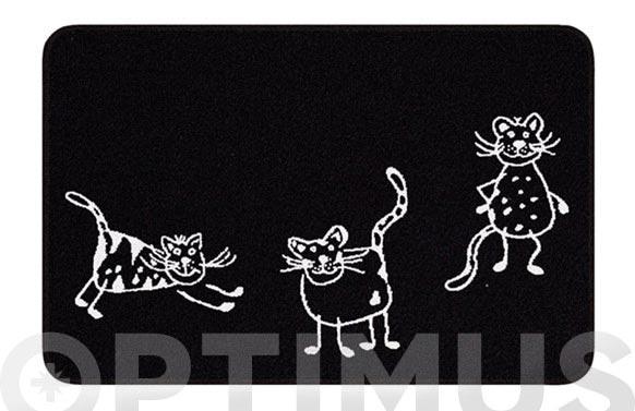 Alfombra baño cats 60 x 90 cm negra