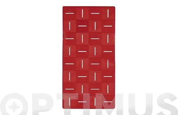 Alfombra baño antideslizante chess 36 x 72 cm rojo