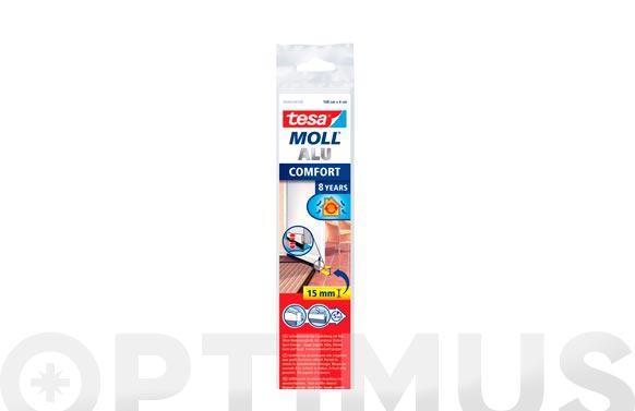 Burlete bajo puerta aluminio/cepillo adhesivo 1 m x 40 mm marron tesamoll