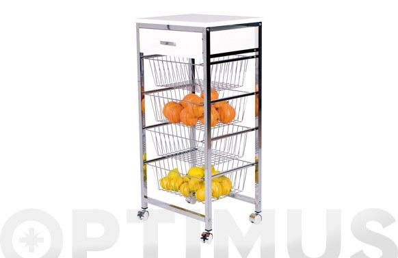 Verdulero 4 cestas + cajon 4400mb blanco