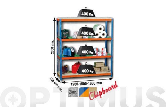 Estanteria media carga sin tornillo 200 x 150 x 60 cm 4 estantes
