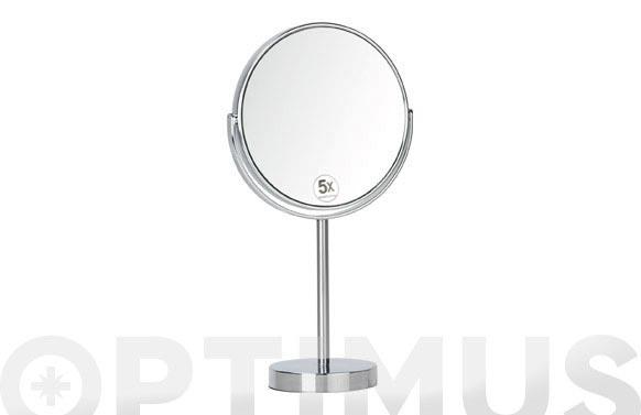 Espejo baño cromado fijo aumento x5 d.10 x 35 cm - ø 17 cm