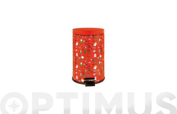 Cubo basura decorado disseny rojo 20 l