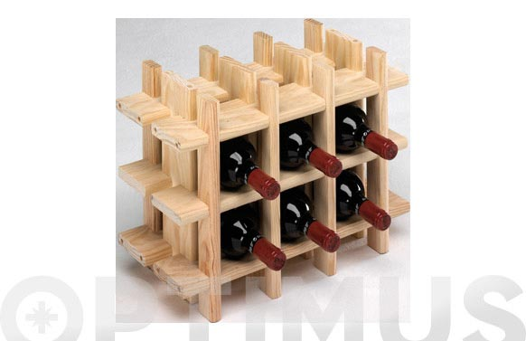 Botellero pino sin barnizar rioja 9 botellas