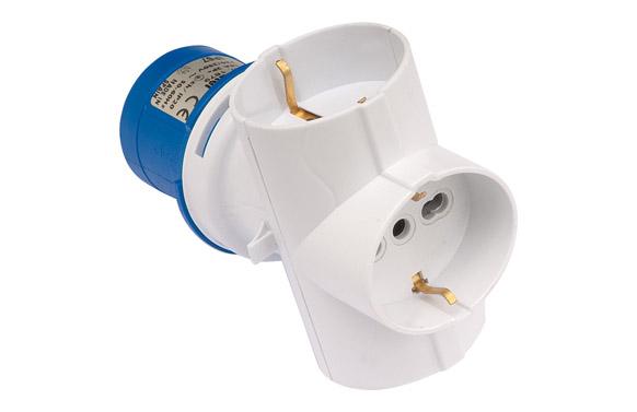Adaptador industrial ip44 2p+t 3base 2p