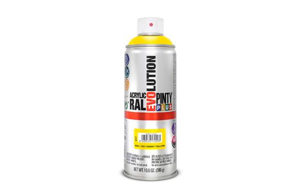 Pintura spray acrilica evolution 520 cc ral 1021 amarillo brillo