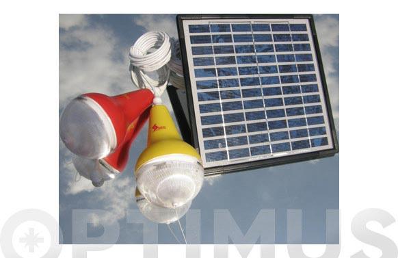 Lampara + panel solar kit 2 bombillas