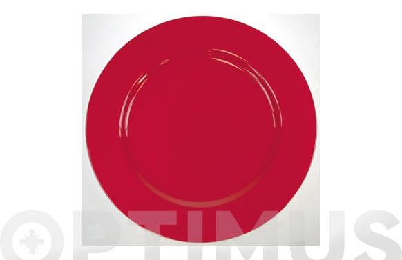 Plato llano 31 porcelana decorado rojo