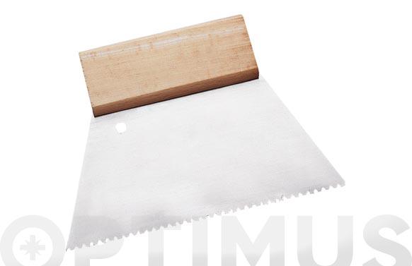 Espatula dentada acero mango madera 180 mm