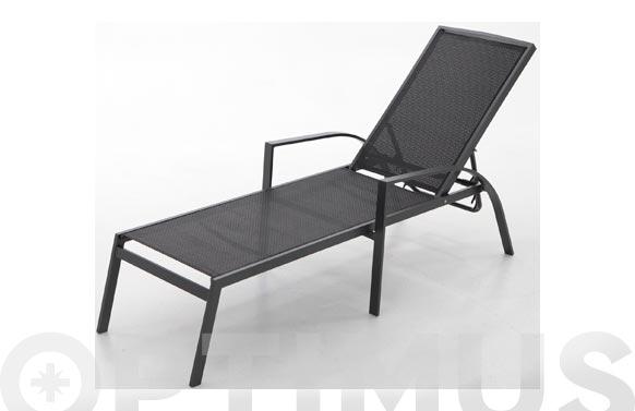 Tumbona aluminio/textilene antracita/negro 187x67x55 cm