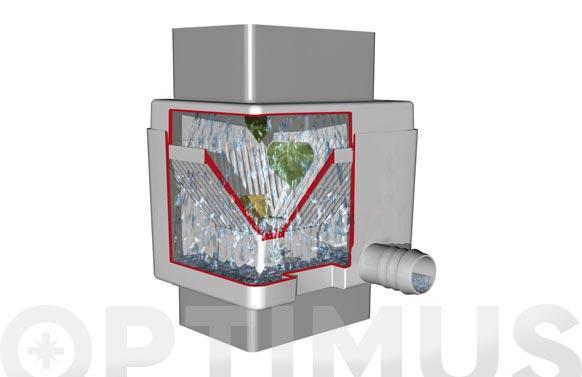 Filtro para bajante rectangular quattro gris