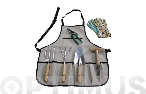 Herramienta jardin set 7 piezas delantal+ guantes + herramientas