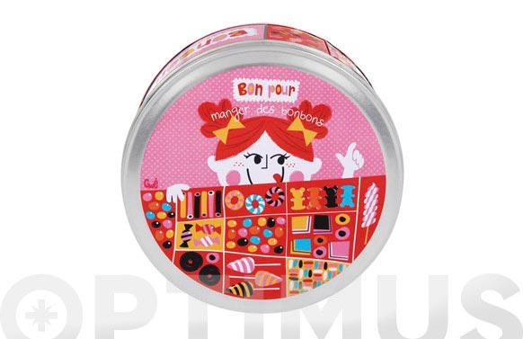 Caja metalica decorada color bombones redonda
