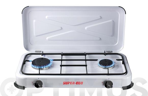 Cocina a gas portatil 2 fuegos con tapa 61 x 34 x 10 cm