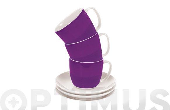 Taza te con plato banda lila