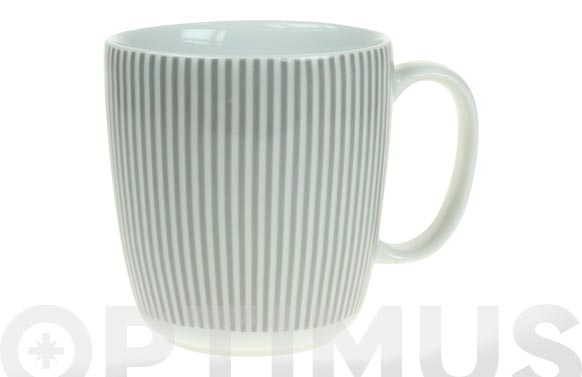 Mug porcelana ambit rayas gris
