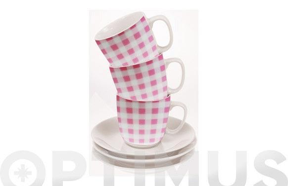 Taza te con plato cuadros rosa